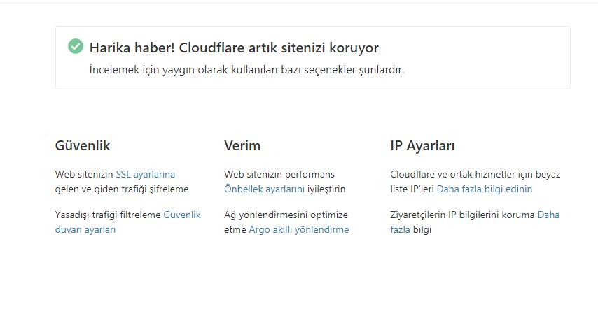cloudflare kayıt tamamlandı - Google PageSpeed ve GTmetrix Puanı Yükseltme